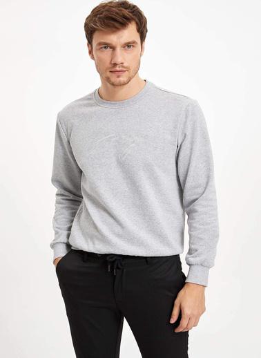 DeFacto Baskılı Slim Fit Sweatshirt Gri